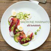 Nondisolopane - Salmone marinato alla barbabietola profumato al basilico
